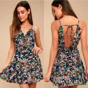 Lulu's Jazmin Navy Blue Floral Print Skater Dress